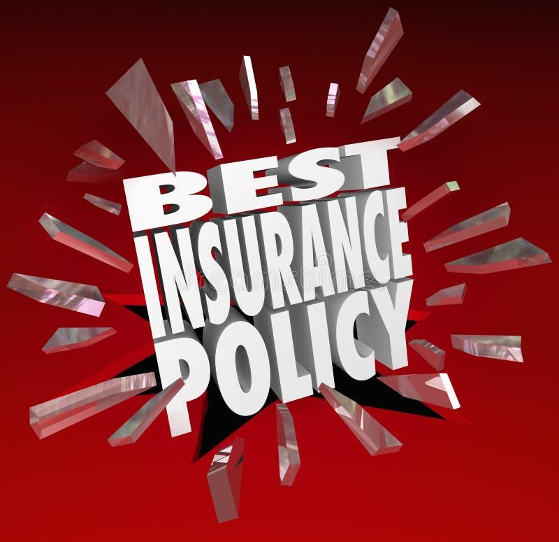 O melhor seguro exprime a proteção dos cuidados médicos da cobertura ilustração royalty free