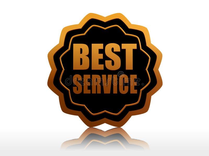 O melhor serviço na etiqueta starlike preta ilustração stock