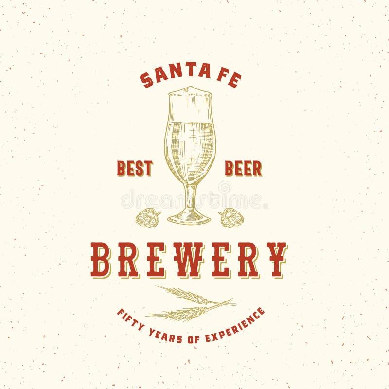 O melhor sinal, símbolo ou Logo Template do vetor do sumário da cervejaria da cerveja Vidro, lúpulos e trigo retros tirados mão c ilustração royalty free