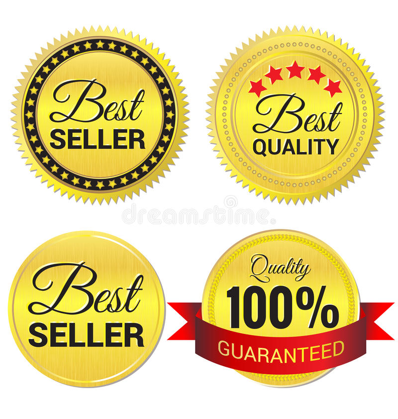 O melhor vendedor, a melhor qualidade e etiqueta garantida do ouro ilustração royalty free