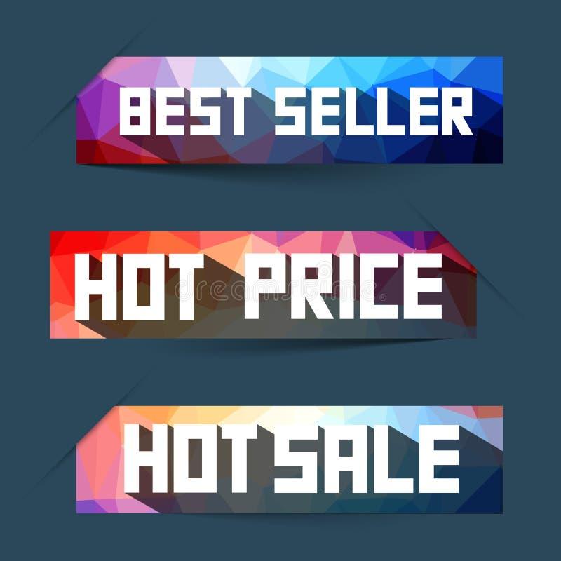 O melhor vendedor - preço quente - etiquetas quentes da venda - etiquetas ajustadas ilustração do vetor