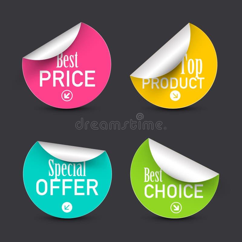 O melhores preço e escolha, oferta especial, grupo de etiquetas colorido do círculo do vetor do produto superior ilustração stock