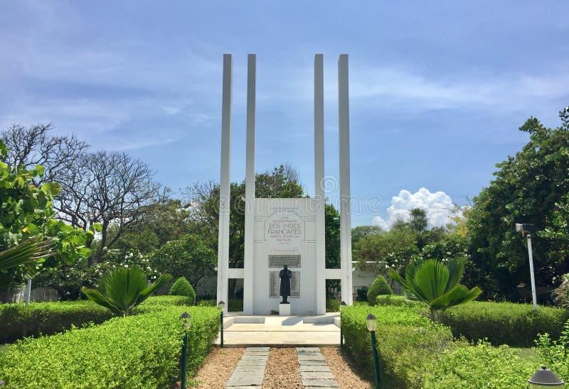 O memorial de guerra francês histórico em Pondicherry fotografia de stock