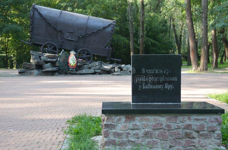 O memorial Romani, dos ciganos ou do Roma dedicado aos povos dos gysies executados em 1941 em Babi Yar em Kiev por forças alemãs imagens de stock