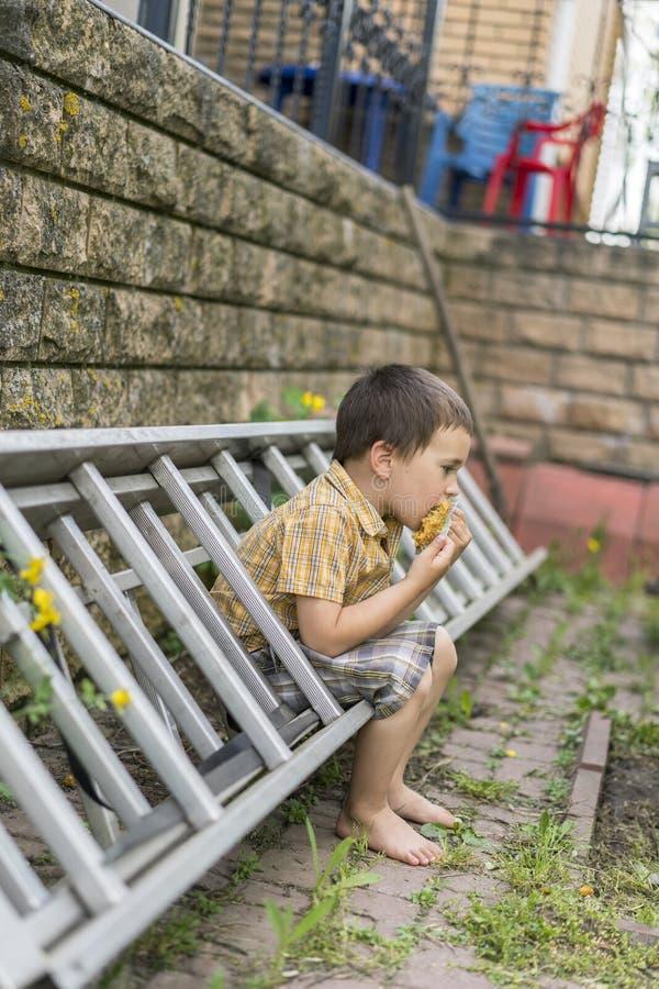 o menino é 4 anos na jarda fotografia de stock royalty free