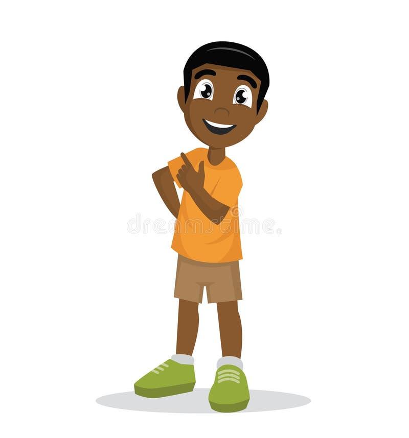 O menino africano está em uma pose segura ilustração royalty free