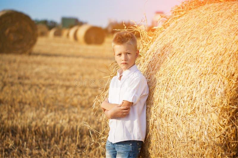 O menino agradável no campo da pilha próxima de palha no por do sol imagem de stock royalty free