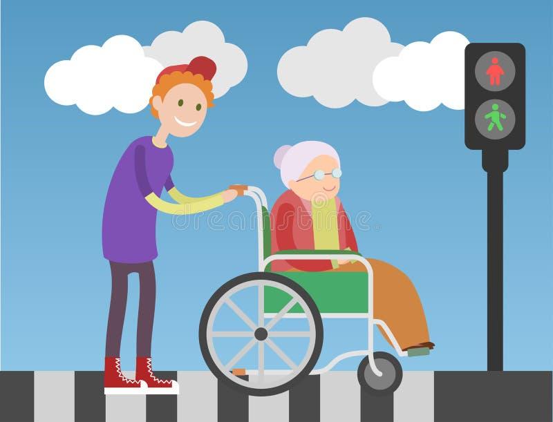 O menino amável ajuda a senhora idosa na cadeira de rodas ilustração royalty free