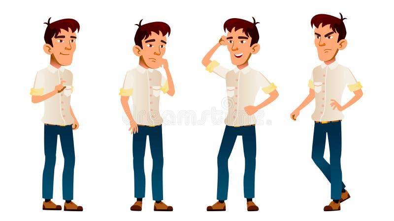 O menino asiático levanta vetor ajustado Aluno alto Camisa branca teenage workspace Para a Web, folheto, projeto do cartaz ilustração stock
