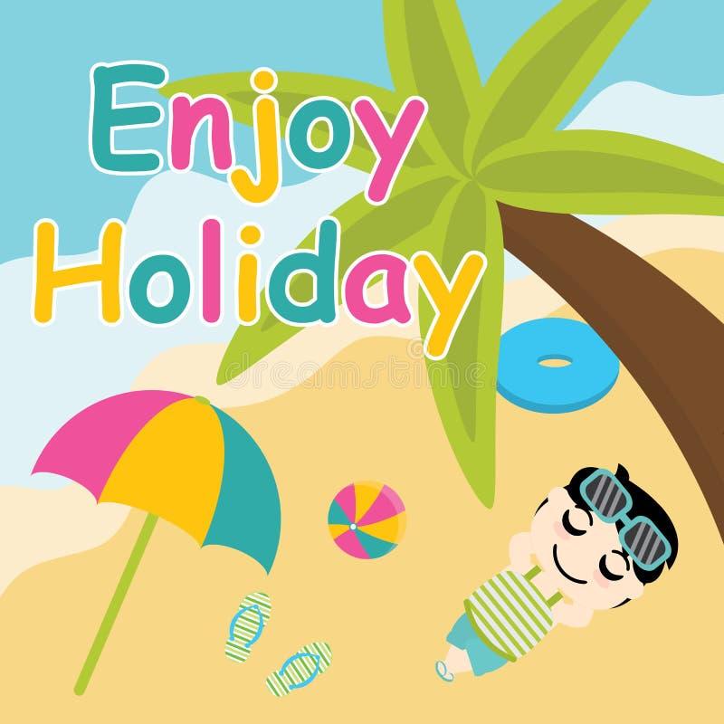 O menino bonito aprecia o feriado nos desenhos animados da praia, no cartão do verão, no papel de parede, e no cartão ilustração stock