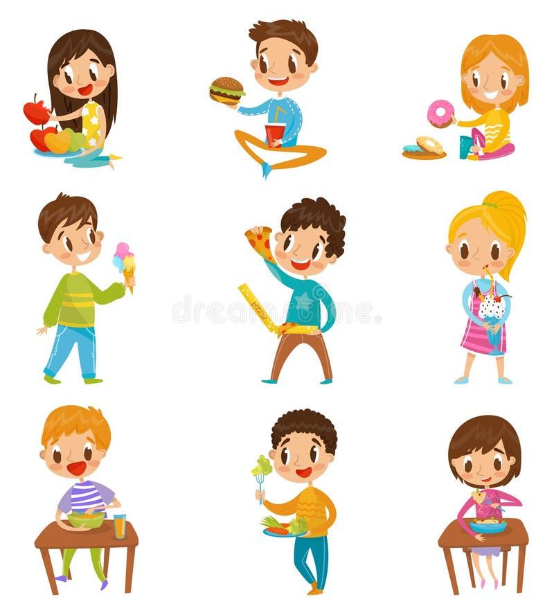O menino bonito e as meninas que têm o brekfast ou o almoço ajustado, crianças que apreciam sua refeição vector ilustrações em um ilustração stock