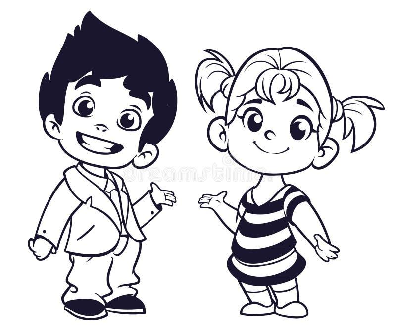 O menino bonito e a menina dos desenhos animados com mãos levantam a ilustração do vetor ilustração do vetor