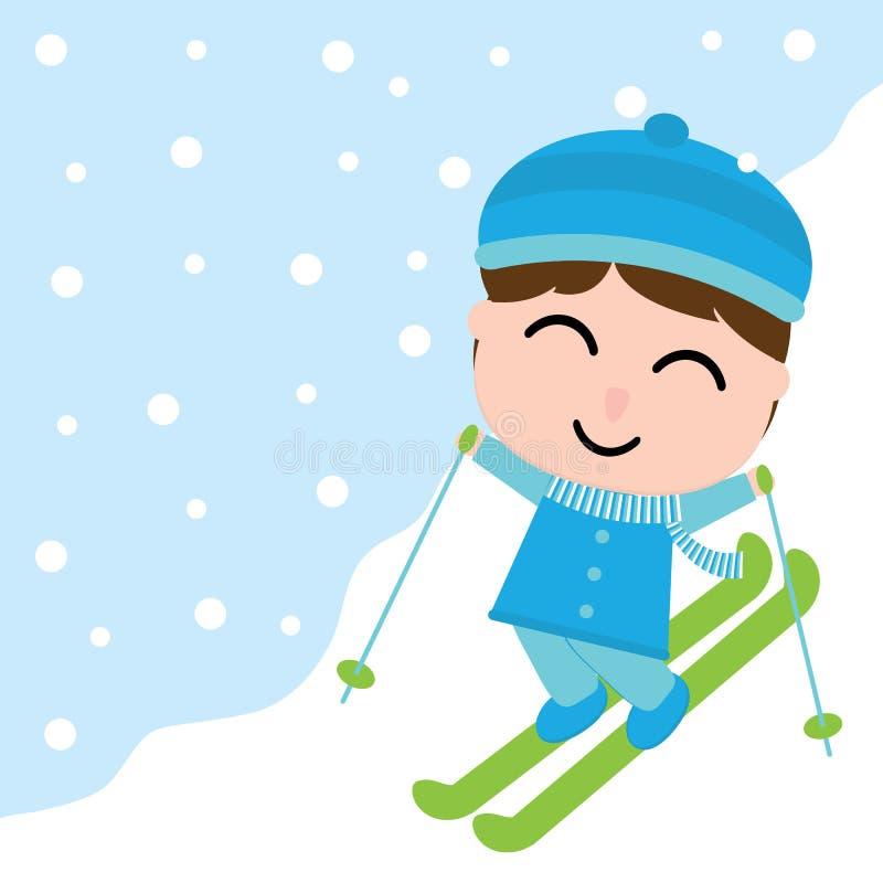 O menino bonito está jogando o esqui na caixa da neve para o cartão do Xmas, papel de parede, cartão ilustração do vetor