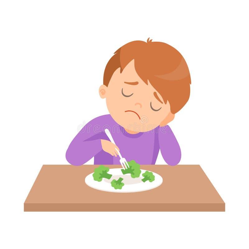 O menino bonito faz para não querer comer brócolis, criança faz não como a ilustração do vetor dos vegetais ilustração do vetor