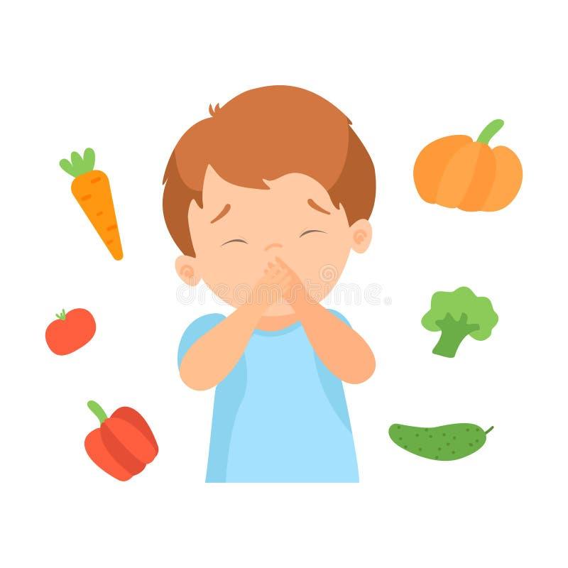O menino bonito que recusa comer vegetais, criança faz não como a ilustração saudável do vetor do alimento ilustração stock