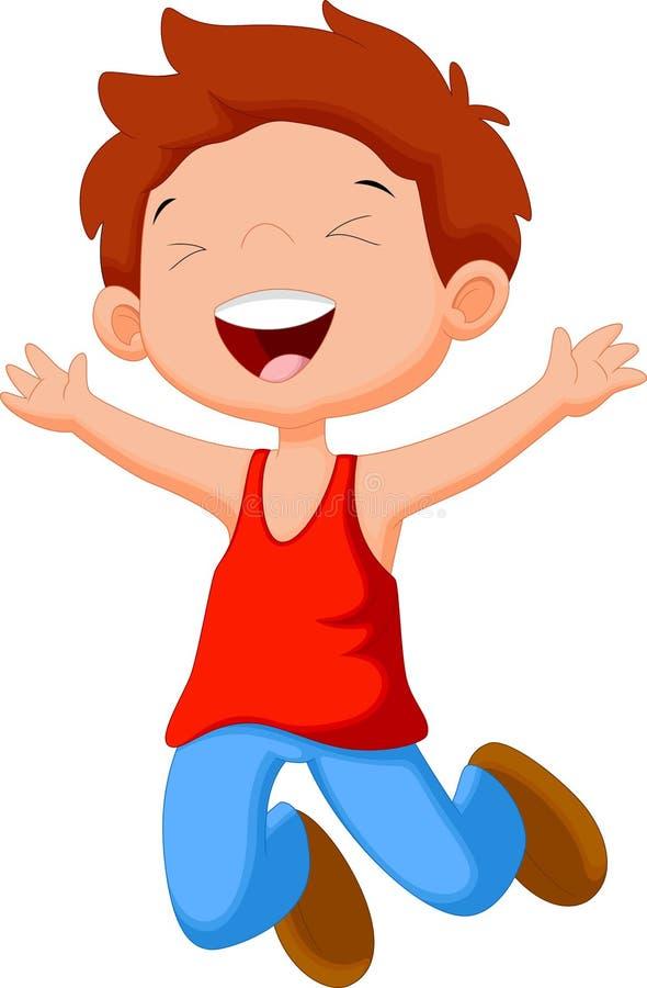 O menino bonito salta ilustração stock