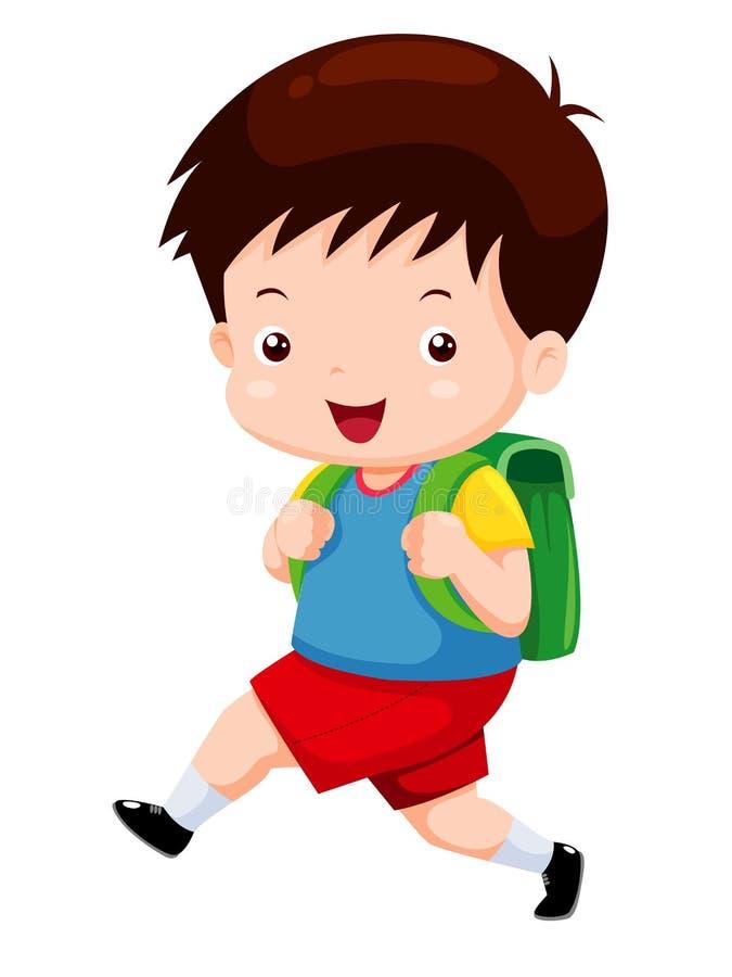 O menino bonito vai à escola ilustração royalty free