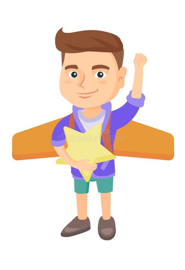 O menino caucasiano com avião voa atrás do seu para trás ilustração stock