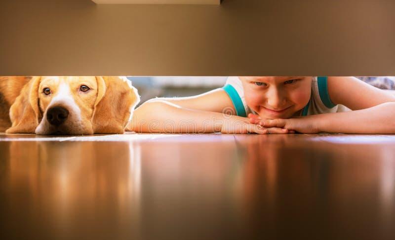 O menino com amigo canino olha sob a cama