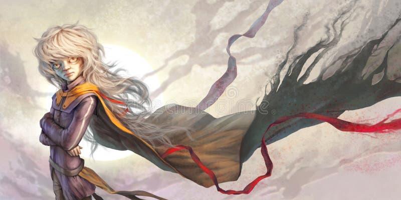 O menino com cabelo longo ilustração do vetor