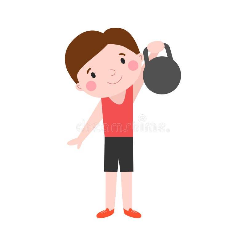 O menino com da energia saudável atrativa do estilo de vida da criança da aptidão dos pesos esporte atlético e a jovem criança ma ilustração do vetor