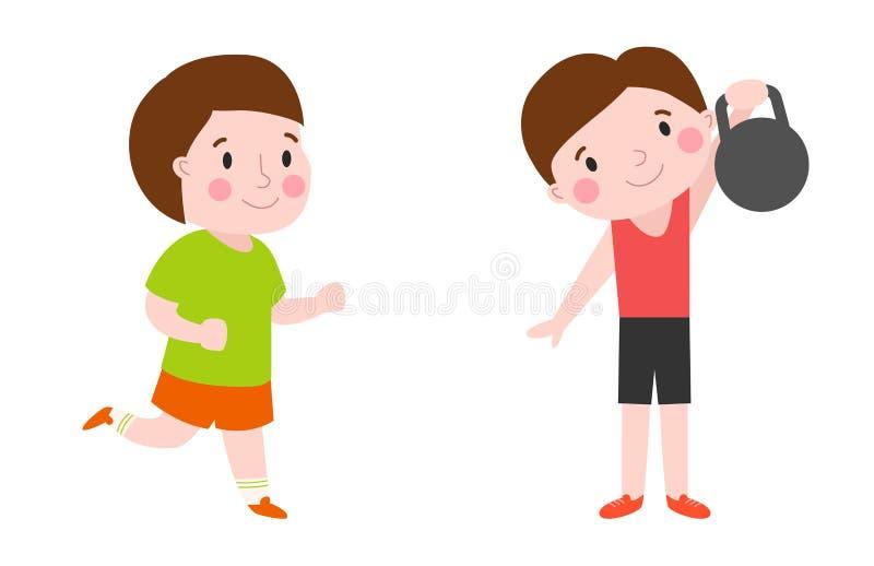 O menino com da energia saudável atrativa do estilo de vida da criança da aptidão dos pesos esporte atlético e a jovem criança ma ilustração royalty free