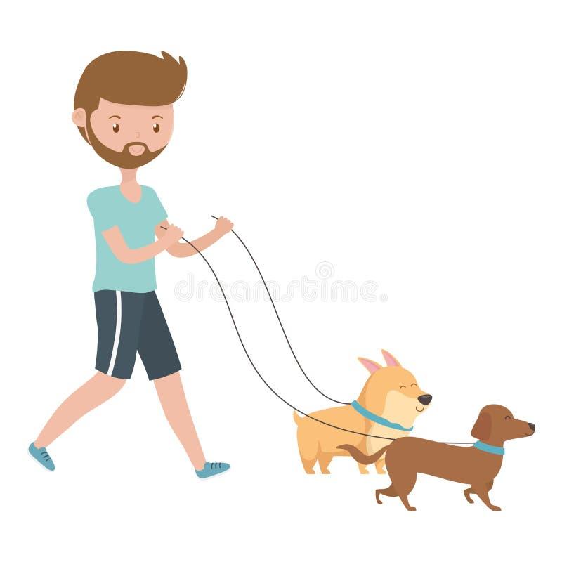 O menino com desenhos animados dos cães projeta ilustração stock