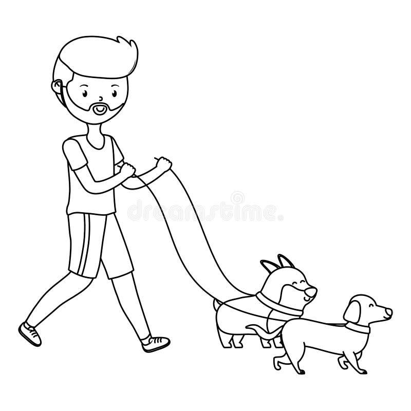 O menino com desenhos animados dos cães projeta ilustração do vetor