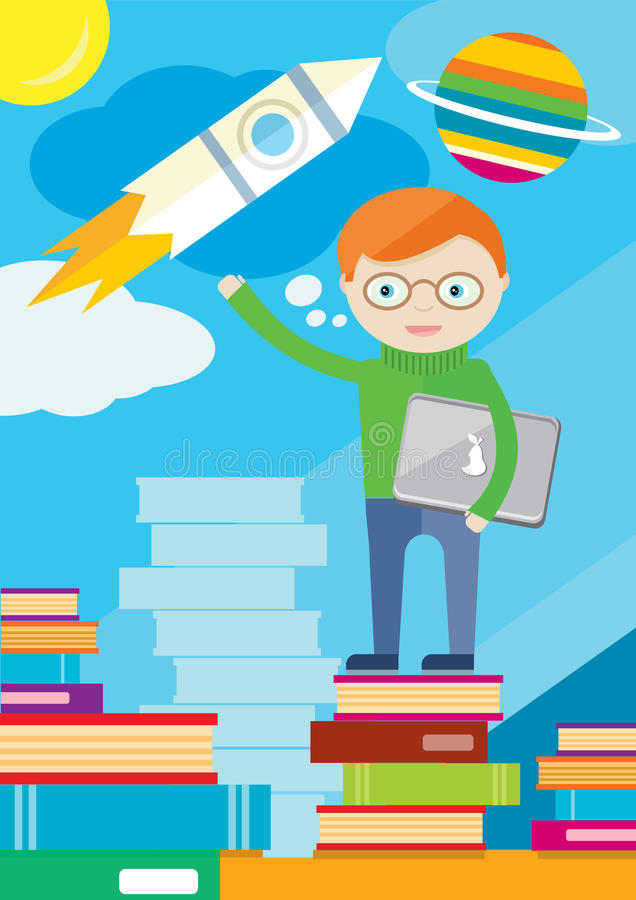 O menino com portátil está em livros e mostra o foguete ilustração stock