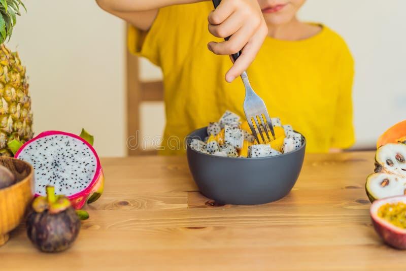 O menino come a fruta Alimento saudável para crianças Criança que come o petisco saudável Nutrição do vegetariano para crianças V fotos de stock