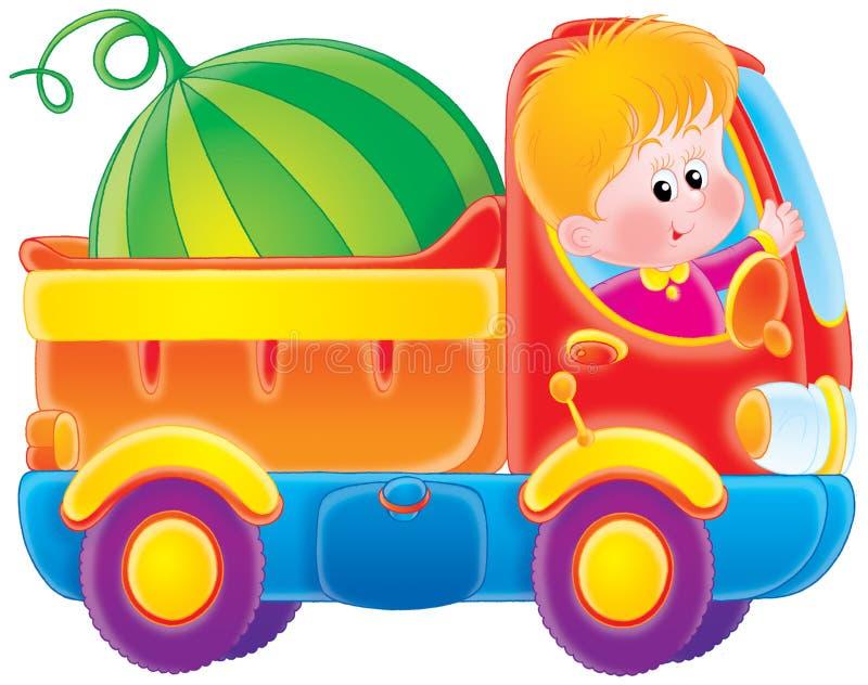 O menino conduz um caminhão ilustração royalty free