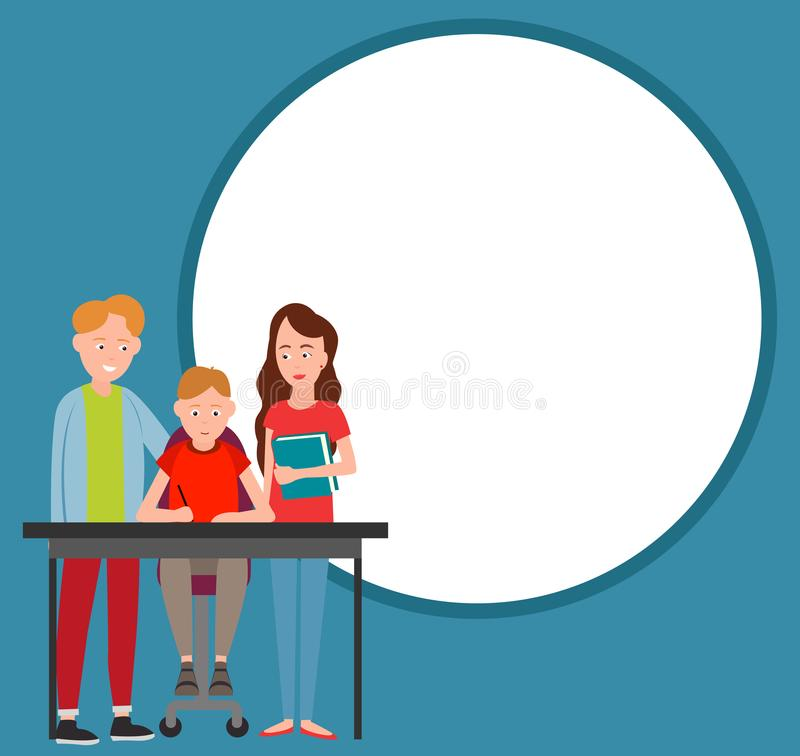 O menino da ajuda dos pais faz a ilustração do vetor dos trabalhos de casa ilustração royalty free