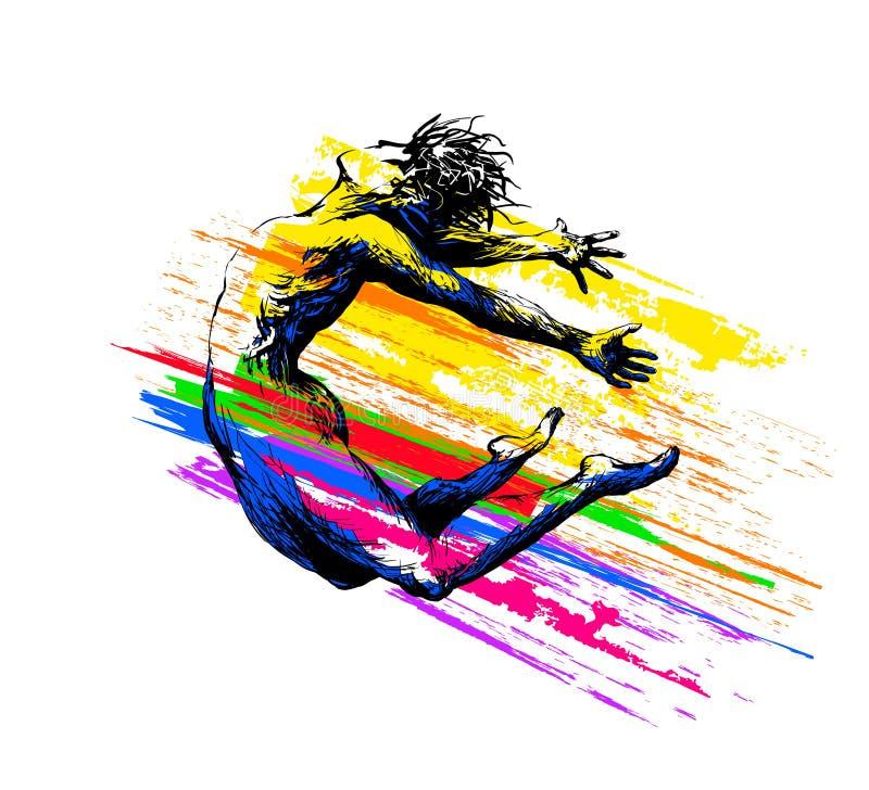 O menino de dan?a do homem que salta com cor espirra no fundo branco Ilustra??o do vetor ilustração stock