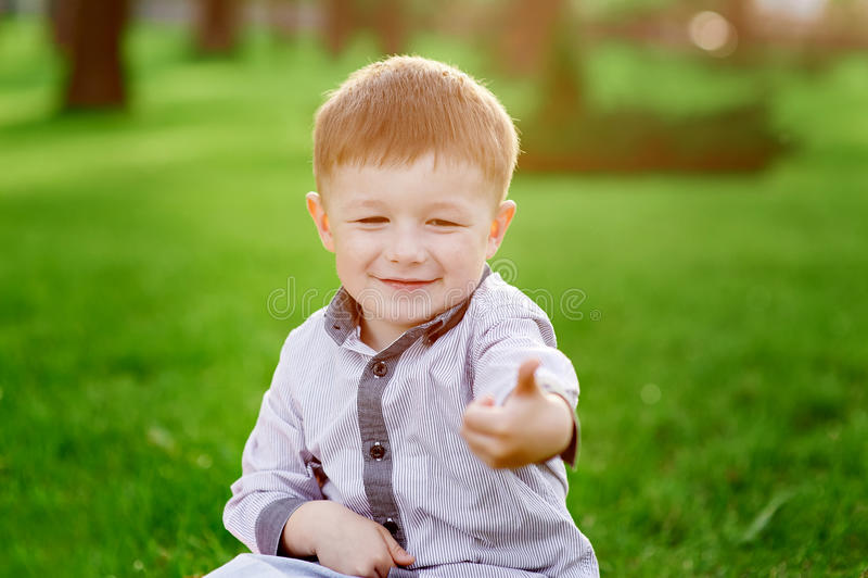 O menino de sorriso senta-se na grama verde no parque do verão fotografia de stock
