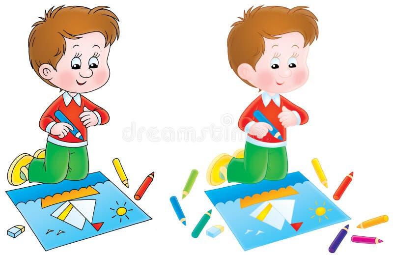 O menino desenha um retrato ilustração stock
