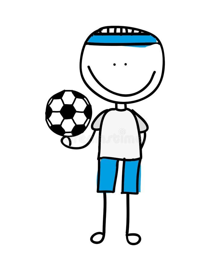o menino do desenho com futebol do balão isolou o projeto do ícone ilustração do vetor