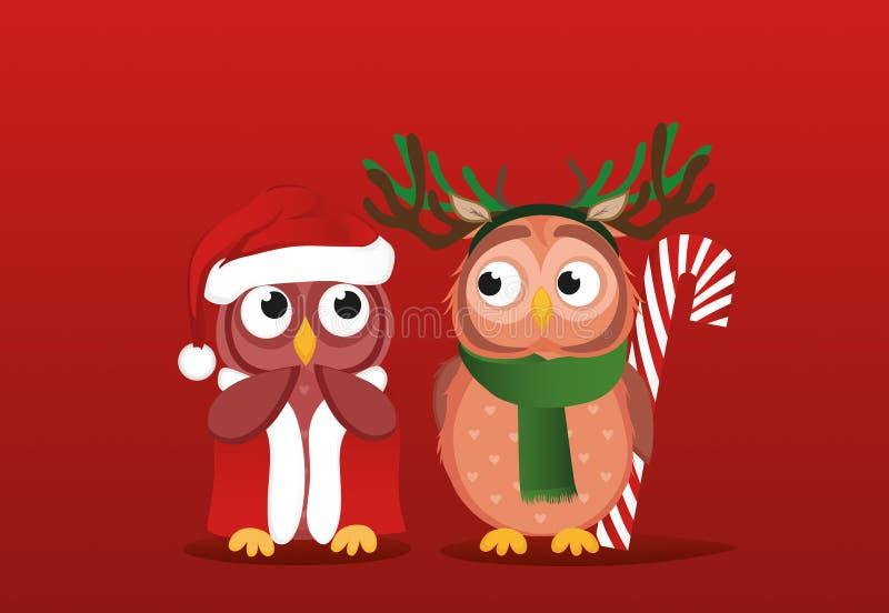 O menino do filhote de coruja em um terno dos cervos quer dar um presente dos doces do Natal a ilustração royalty free
