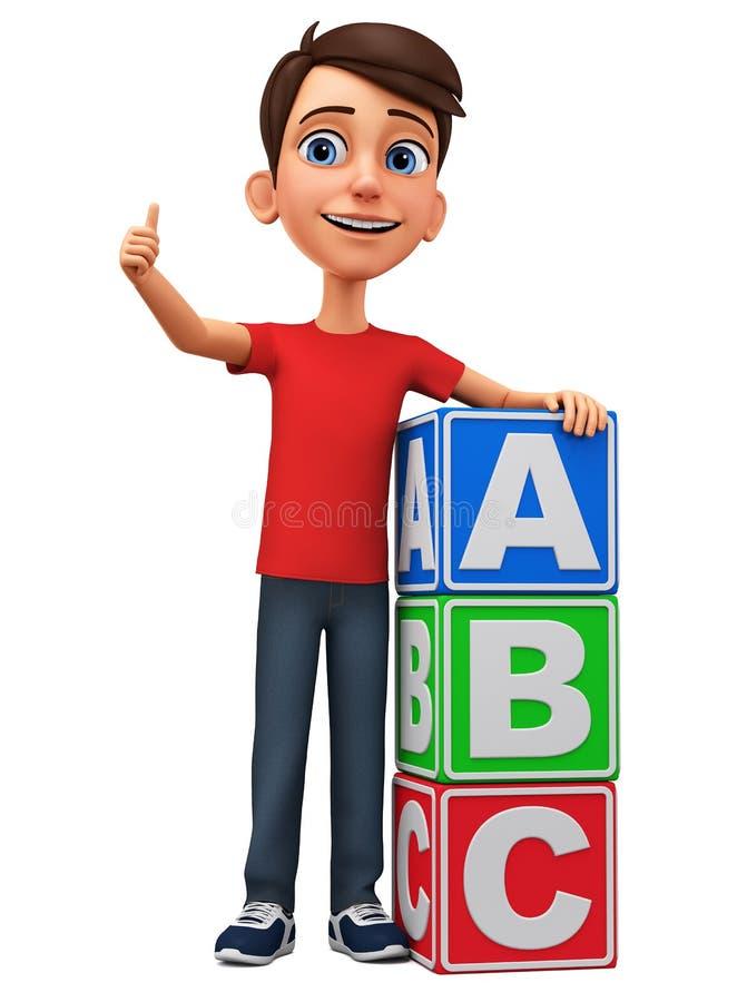 O menino do personagem de banda desenhada mostra o polegar acima da inclinação contra cubos rendi??o 3d Ilustra??o para anunciar ilustração do vetor