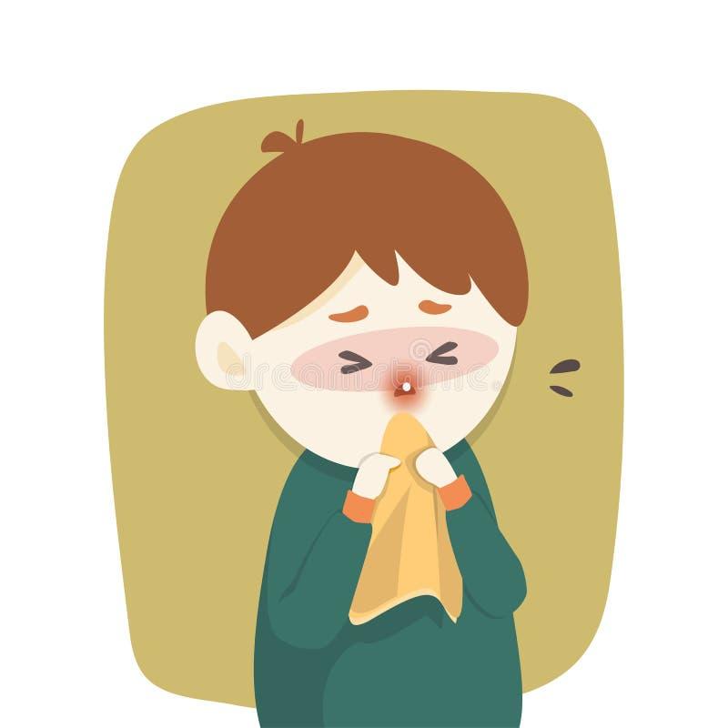 O menino doente tem o nariz ralo, frio travado espirrando no tecido, gripe, estação da alergia, ilustração do vetor ilustração do vetor