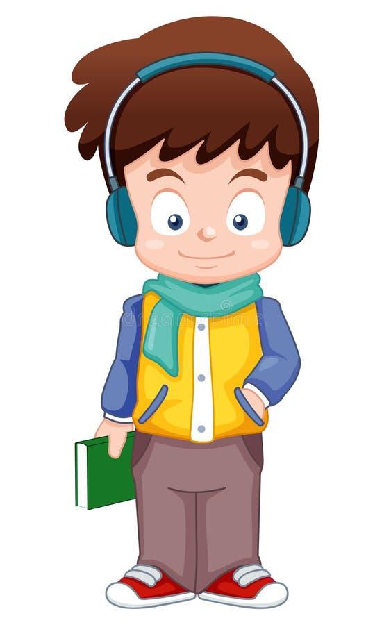 O menino dos desenhos animados escuta música ilustração do vetor