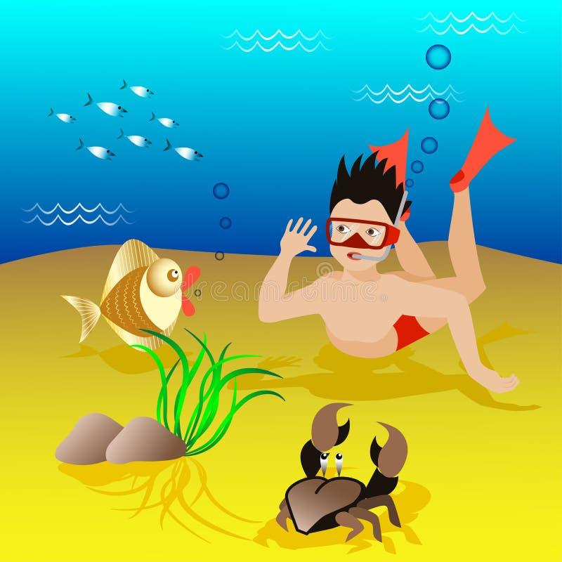 O menino dos desenhos animados mergulha em uma máscara e em aletas sob a água foto de stock