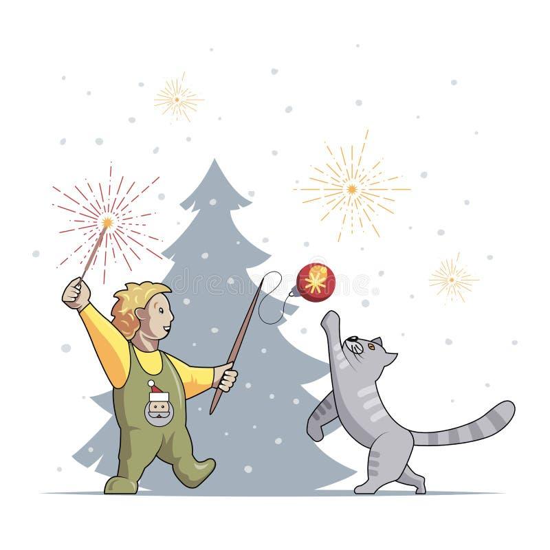 O menino e o gato jogam e comemoram o Natal e o ano novo ilustração do vetor