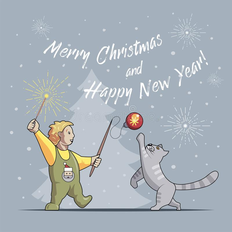 O menino e o gato jogam e comemoram o Natal e o ano novo ilustração royalty free