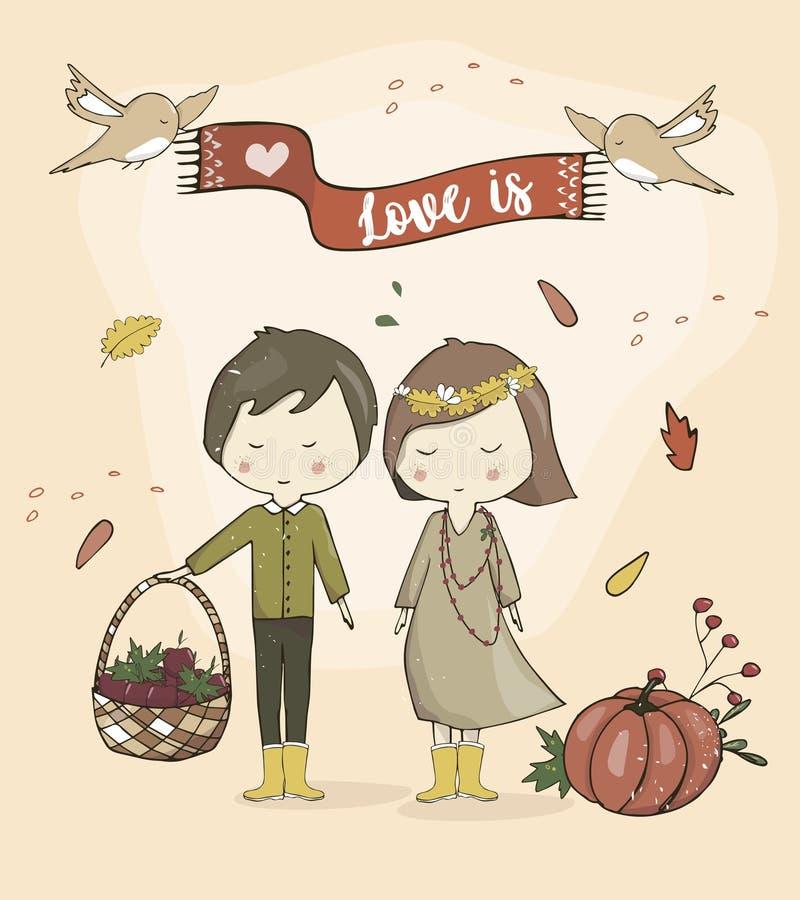 O menino e a menina amam junto o suporte bonito dos pares dos desenhos animados do humor do outono e sorriem-lhe ilustração do vetor