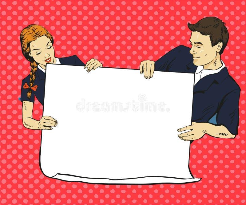 O menino e a menina de escola guardam o cartaz vazio do Livro Branco Ilustração do vetor no estilo cômico do pop art Põe seu próp ilustração royalty free
