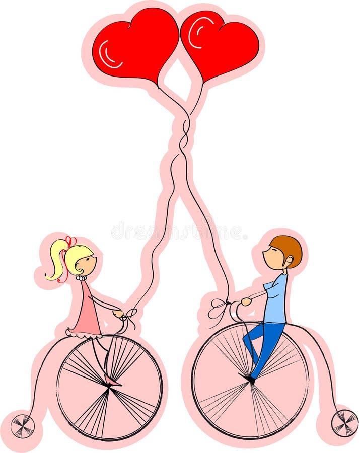 O menino e a menina do amor montam uma bicicleta, a   ilustração do vetor