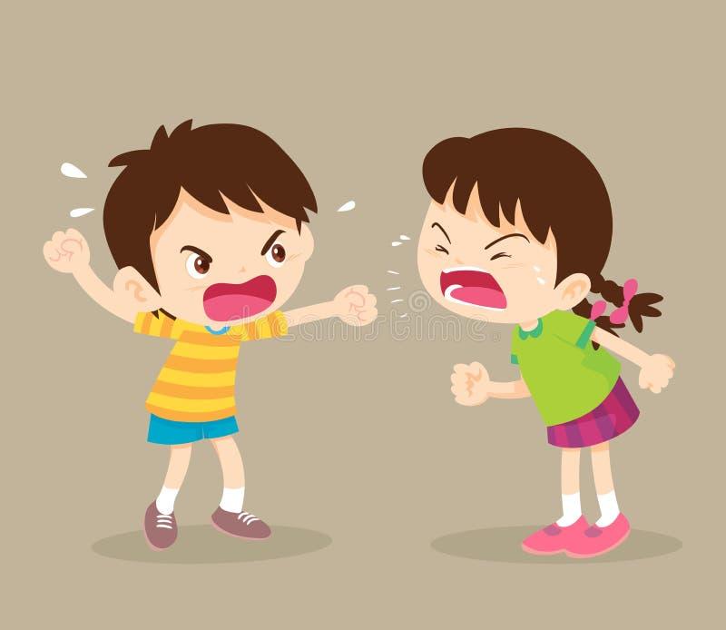 O menino e a menina irritados do estudante estão discutindo ilustração royalty free