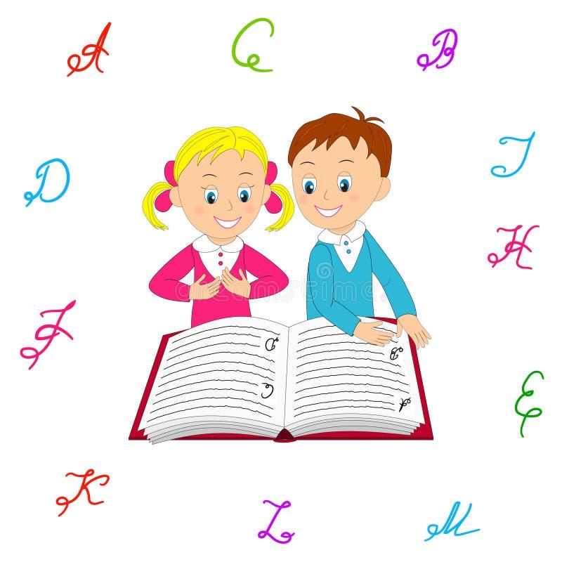 O menino e a menina leram com interesse o livro ilustração stock