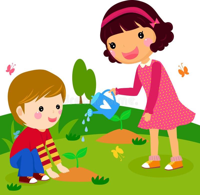 O menino e a menina molham uma planta ilustração do vetor