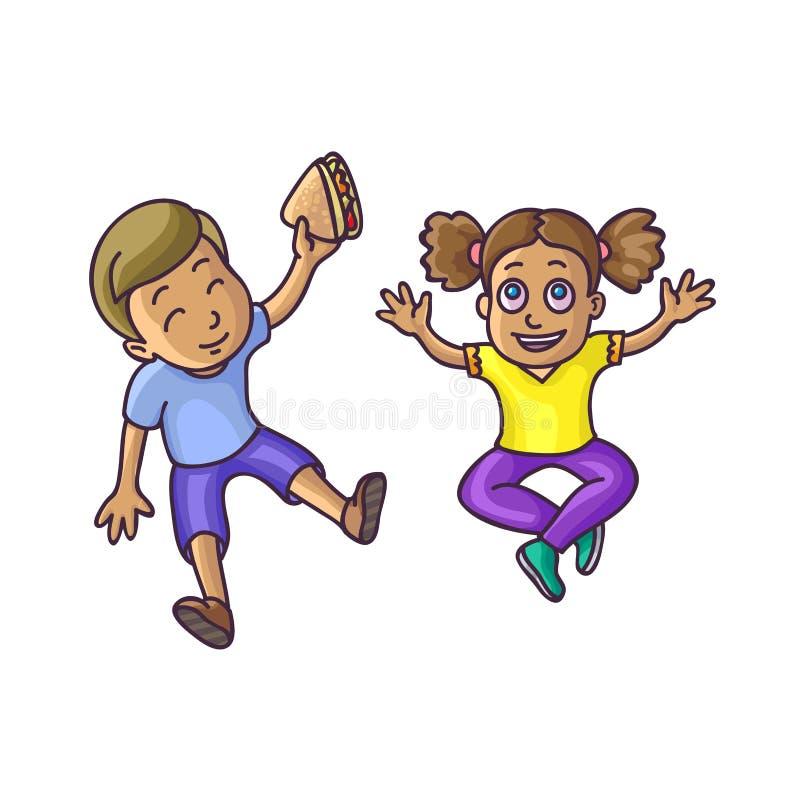 O menino e a menina que sentam-se no assoalho cobrem o veiw ilustração stock